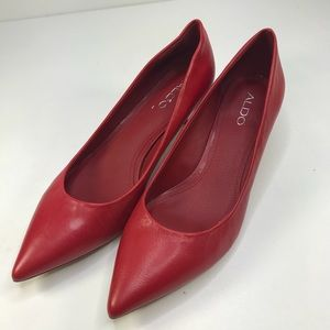 Aldo Red Leather Classic Kitten Heel